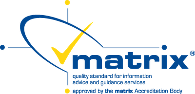 Matrix - quality standard for information advice and guidance services. Approved by the Matrix accreditation body